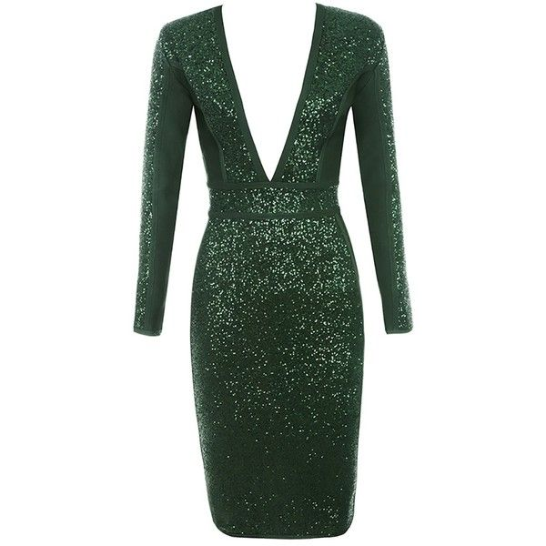 Bend The Rules Green Sequin Long Sleeve Plunge V Neck Bodycon Bandage 140 Liked On Polyv Green Sequin Dress Long Sleeve Bandage Dress Sequin Midi Dress