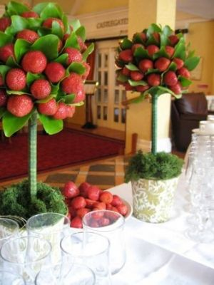 Valentines event idea- Place red items in green trees/ place among the dining tables for a color splash