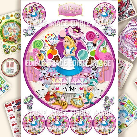 Cake Alice in Wonderland edible decorations for cake and cupcake Icing personalised Cake toppers Birthday