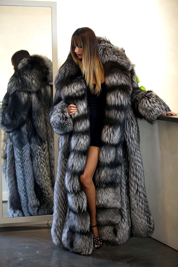 PELZ PELZMANTEL MANTEL SILBERFUCHS SILVER FOX FUR COAT love long fur coat real sexy on a lady
