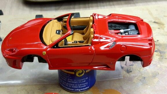 F430 Spider interior and engine glued in.