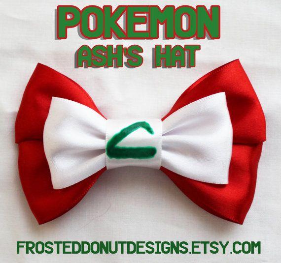 Pokemon Ash Ketchum Hat Inspired Bow door FrostedDonutDesigns, $9.00