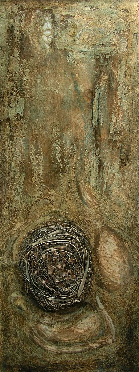 G. Dalli Cani - Fertility (body of work) 2005/06 - NEST - oil paint, dry grass, jute cord, nails, feathers.
