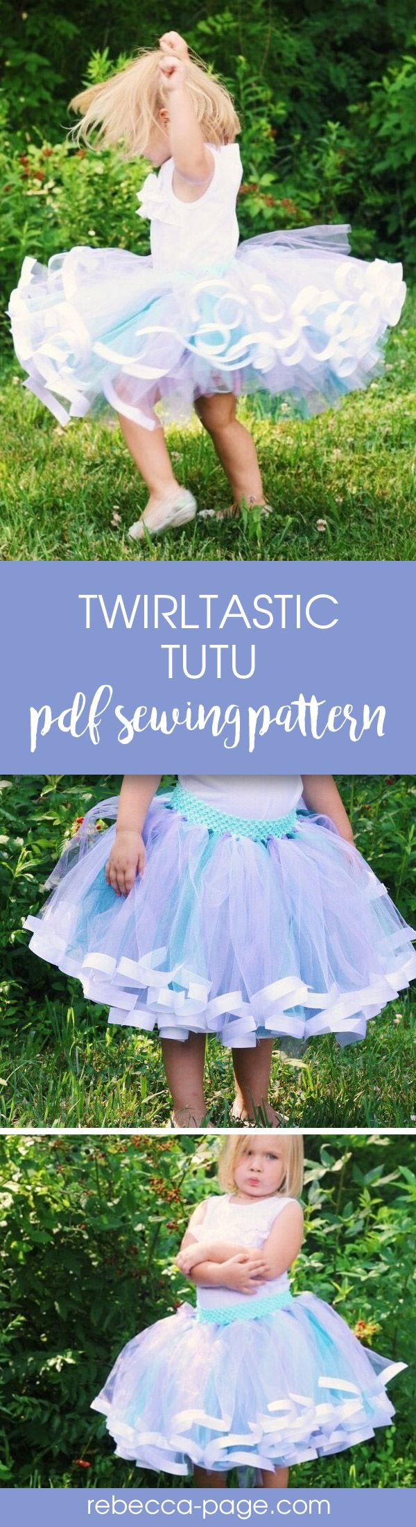 PDF sewing pattern - The Twirltastic Tutu is the cutest ribbon tutu pattern about. With yards of tulle and super curly ribbon, it's literally twirltastic.