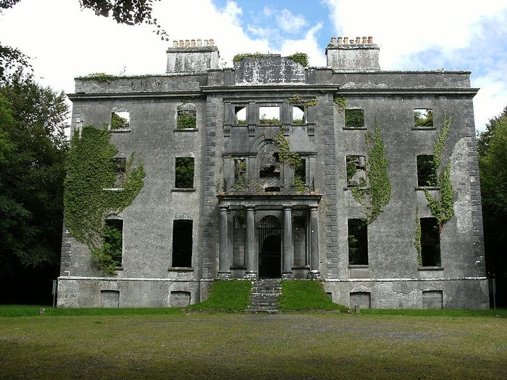 Moore Hall, County Mayo, The Republic of Ireland. The Architect was John Roberts and it was built in 1792 and finished in 1795. The House was lit afire in 1923 during the Irish Civil War. It has been left unfurnished and unlived in since. The Estate is in poor condition and is slowly becoming overgrown by the forest and nature around it.