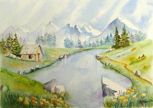 Aquarelle paysage de montagne recherche google for Aquarelle facile