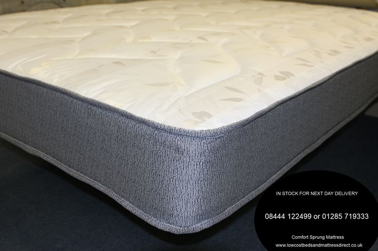 5ft Comfort Sprung Mattress - £234.95 - A medium feel combined with a lovely soft damask fabric on the sleeping surfaces which is padded with soft fillings for improved comfort. The borders of the mattress are finished in a smart grey damask fabric.  Can be used on bases with slats or platform or sprung divans.