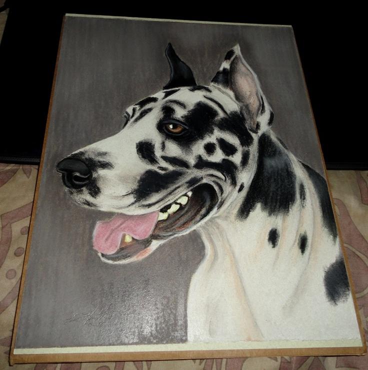 Original Pastel Harlequin Great Dane Dog Wall Art Home