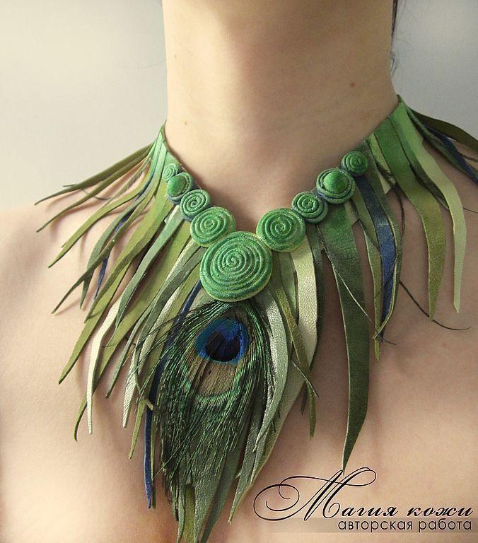 """Купить Колье """"Тропиканка"""". - тропиканка, тропики, пальмы, африка, джунгли, зелень, зеленый цвет, листья"""