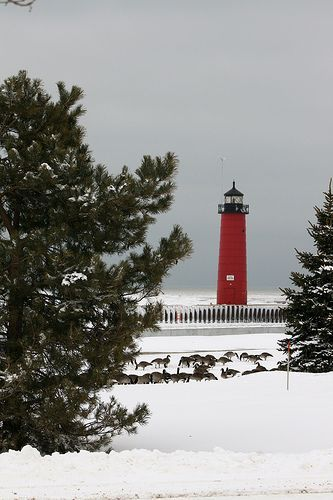 The Lighthouse - Winter, Lake Michigan | Lighthouses ...