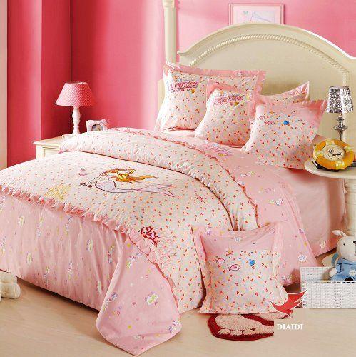 Diaidi cute princess bedding sets fish mermaid bedding set for Fish bedding twin