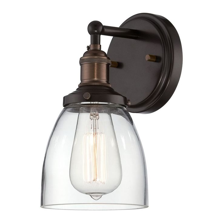 Sconce Wall Light with Clear Glass in Rustic Bronze Finish | 60/5514 | Destination Lighting