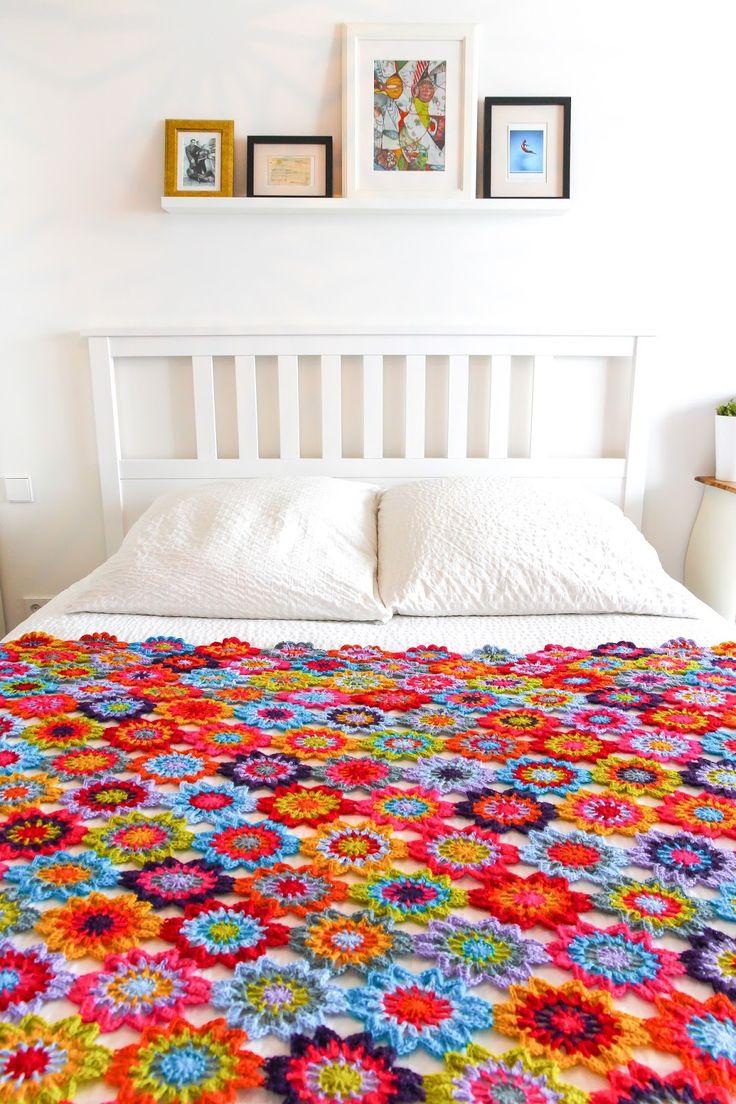 Japanese flower blanket made using Drops Alpaca yarn. According to Matt...