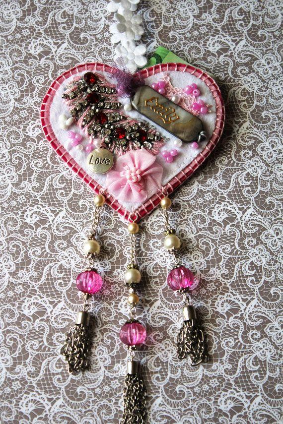 Tooth Fairy heart pillow with pocket, Custom felted heart decor, Wedding…