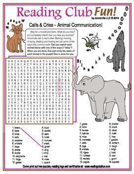 Animal Communication - Find and circle the many sounds (calls, cries, etc.) that animals use to communicate with this Word Search Puzzle!