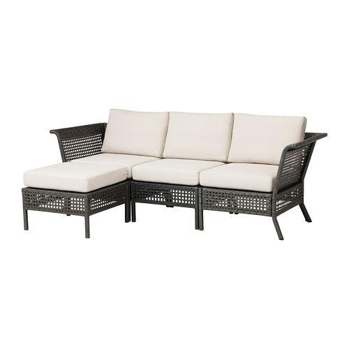 KUNGSHOLMEN Sofa with footstool, outdoor, black-brown, Frösön/Duvholmen beige - black-brown/Frösön/Duvholmen beige - IKEA