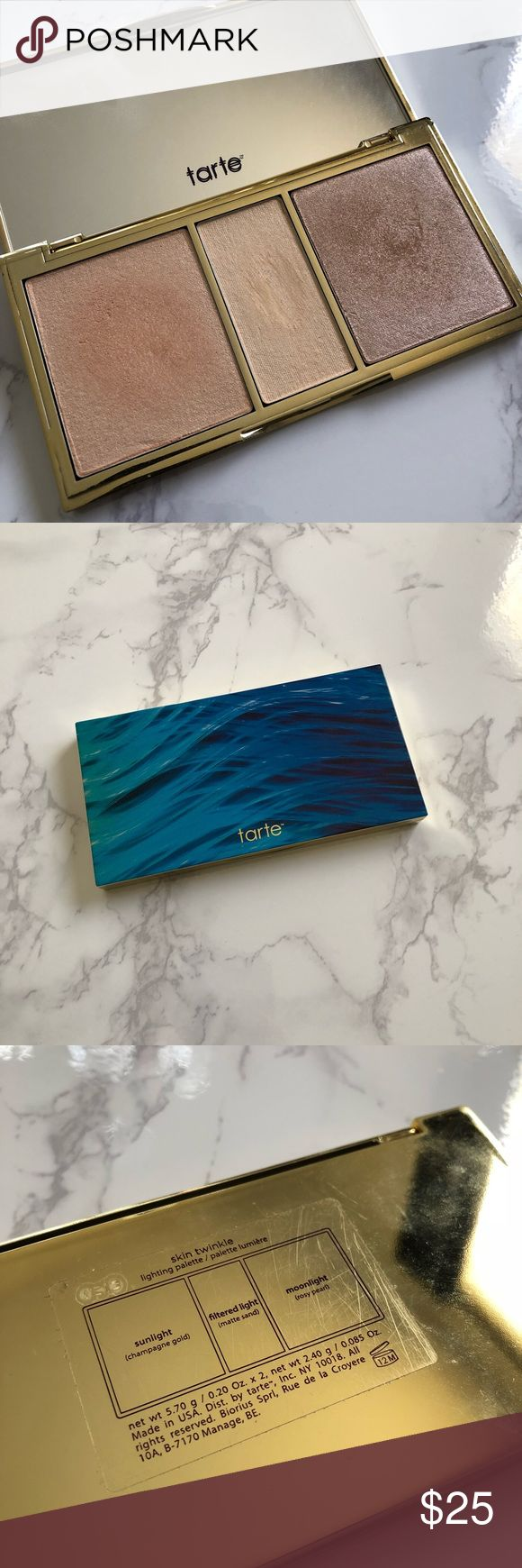 Tarte Skin Twinkle Highlighter Palette Tarte Rainforest of the Sea Skin Twinkle Volume 1 Highlighter Palette. After going through some life changes, I've decided to declutter my makeup and I'm getting rid of quite a few items. This palette is gently used. It is slightly too dark for my super pale skin, but I could make it work depending on the Blush and Bronzer I used. The middle shade is a matte yellow powder to help brighten under the eyes. tarte Makeup Luminizer