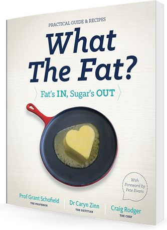 What The Fat book cover - Foreword by Pete Evans and Tim Noakes!   www.whatthefat.com