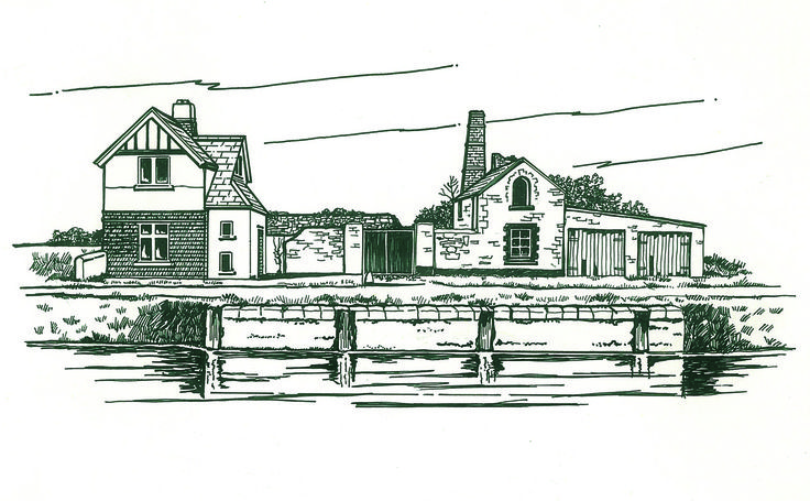 Pen & Ink illustration.. Naas Gas Works from Tow Path Trails Leaflet series. © 1982 Eamon Sinnott