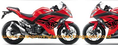 Kawasaki Ninja 250F1 Red - Custom Initial Stripe Concept Sticker