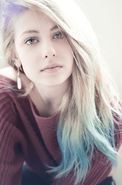 Beautiful face. I want my hair like that, but a peach instead of blue at the tips