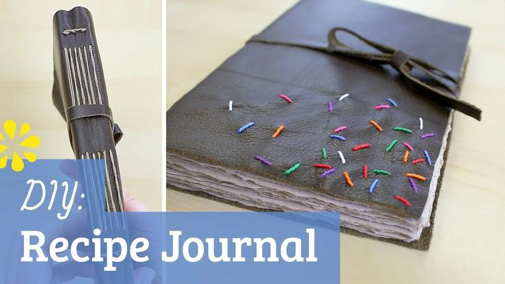 How to make a book: a recipe journal with dark chocolate colored leather, embroidered colorful sprinkles and long stitch binding!