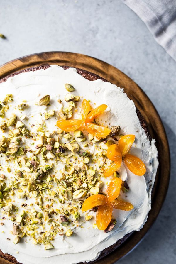 Pistachio Olive Oil Cake with Honeyed Kumquats