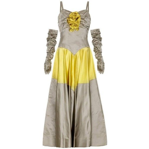 Pre-owned 1950's Grey And Yellow Ball Gown With Matching Gloves ($990) ❤ liked on Polyvore featuring dresses, gowns, yellow, silk dress, gray evening dress, yellow evening dress, yellow dress and grey evening dresses