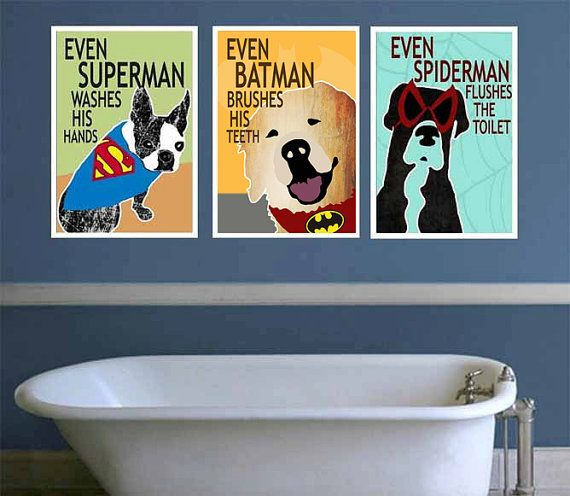 ANY SIZE Printable Superhero Brush Wash Flush Dog Bathroom Kids Wall Art  Decor Poster  Batman  Superman  Spiderman  Digital Files via Etsy. Best 25  Dog bathroom ideas on Pinterest   Dog potty  Dog backyard