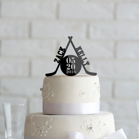 Hockey theme Wedding or Anniversary Cake Topper Personalized in Black Acrylic CT00041