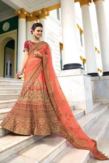 47a7c779af Peach Silk Designer Indian Bridal Wear Embroidery Lehenga Choli With Net  Dupatta Whatsapp :- +91 9377709531 #bulk #wholesale #wholesalesupplier ...