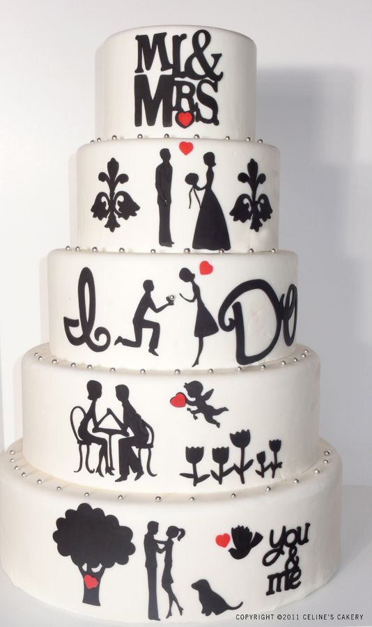 Silhouette wedding cake, from dating, the proposal all the way to Mr. and Mrs.