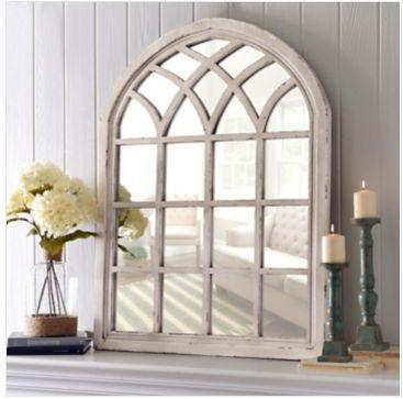 Window Pane Mirror: Kirkland's Distressed Cream Sadie Arch Mirror Item #: 110412 $169.99