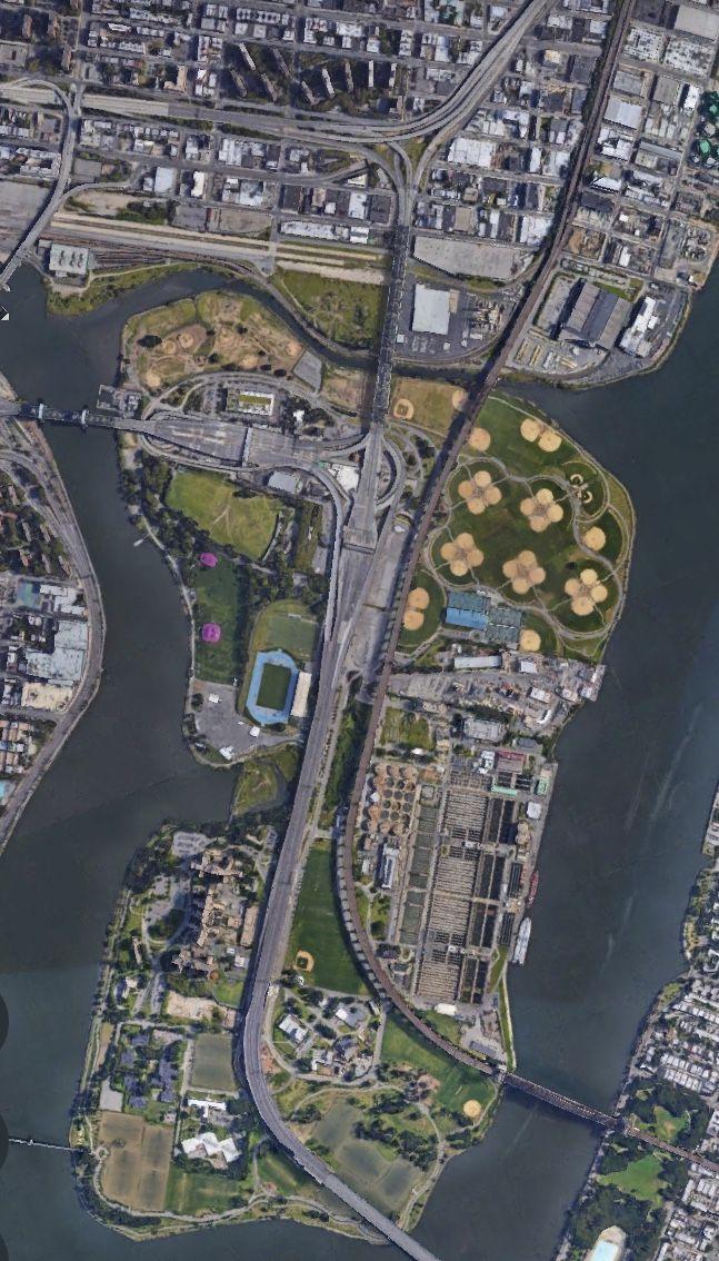 Satelital.From the Sky. Randall's Island Park,Nueva York,USA.
