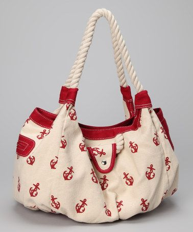 Take a look at this Red & White Anchor Tote by Straw Studios on #zulily today! Warmer weather warrants a new means of carrying the essentials. This beachy tote features a printed canvas exterior and rope handles.