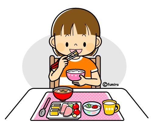 朝御飯を食べる女の子のイラスト(カラー)