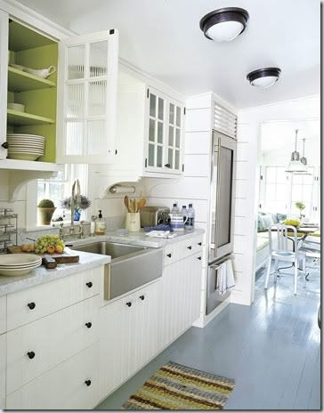 painted floors: Idea, Inside Cabinets, Color, Paintings Cabinets, Glasses Doors, Paintings Floors, Kitchens Cabinets, White Cabinets, White Kitchens
