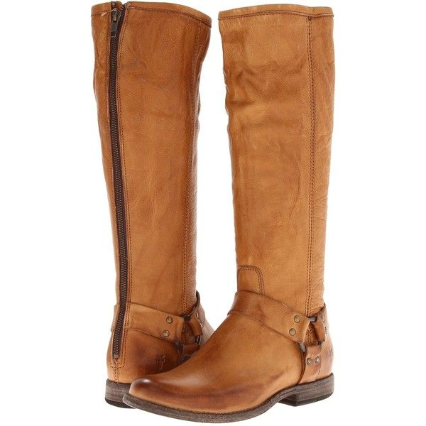 Frye Phillip Harness Tall Women's First Walker Shoes, Tan ($180) ❤ liked on Polyvore featuring shoes, boots, tan, real leather boots, back zipper boots, frye shoes, long boots and frye boots