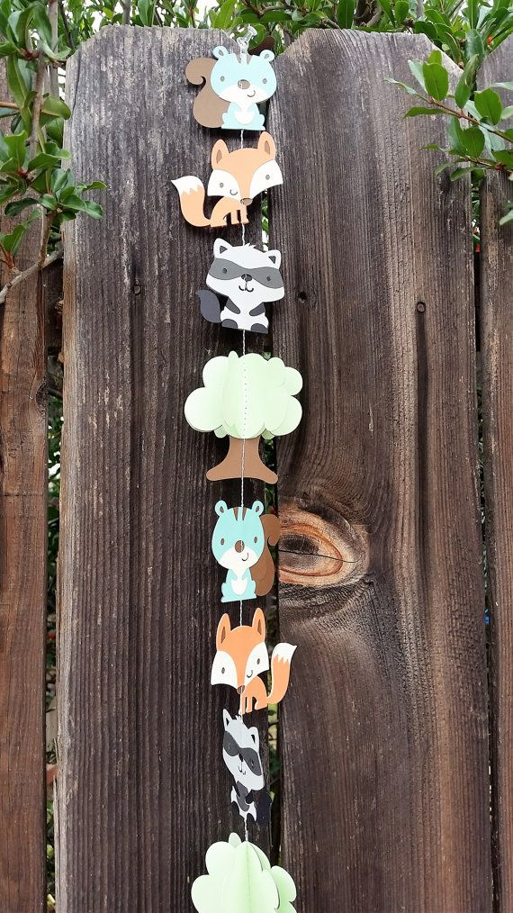 Woodland animals paper garland/baby shower garland/birthday party garland/nursery decoration