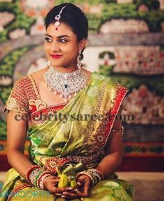 Bride in Red Sequins Work Blouse