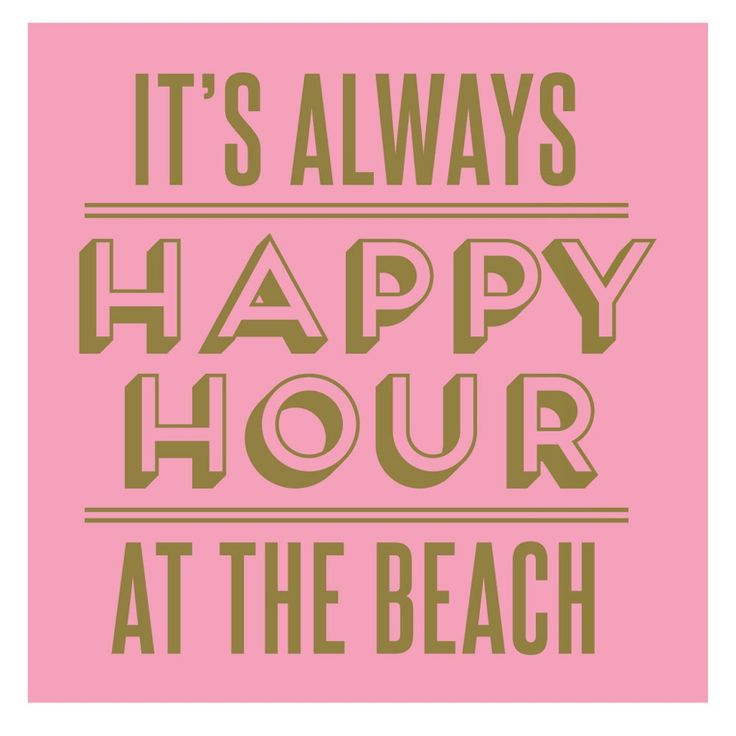 Happy Hour Beach Gold Foil Beverage Napkin