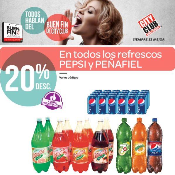 Buen Fin: 20% de descuento en todos los Refrescos Peñafiel y Pepsi, en City Club. Buen Fin, del 14 al 17 noviembre de 2014. #Promo #BuenFin