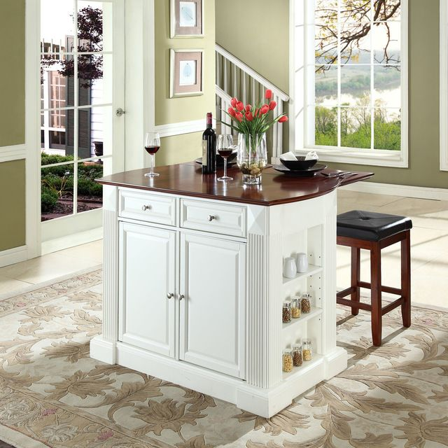 Drop Leaf Breakfast Bar Top Kitchen Island With 24 Black Upholstered Square Sea Traditional