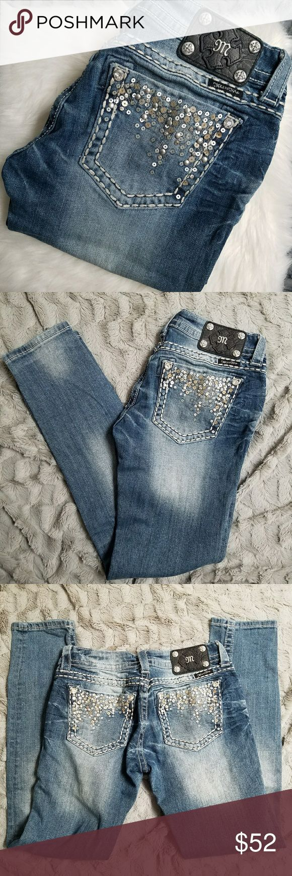 Miss Me Skinny Jeans Size 28 Like new jeans by Miss Me. All gems, buttons, and sequins intact. Size 28. Inseam is 31 inches, waist is 15 inches and rise is 8 inches. Miss Me Jeans Skinny