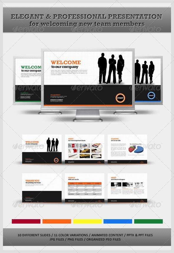 Welcome Your New Team Members Powerpoint  #GraphicRiver        Professional Corporate Powerpoint Presentation This is a colorful, clean Powerpoint template that can be used for any presentation for your project or your company. Great design, fully editable and with a lot of color variations, just perfect for any project. The package includes:  10 different slide presentations;  11 color variations (including red, green, orange, blue, yellow, blue);  PPTX & PPT files ready made for each color…