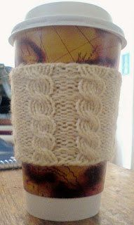 Free Knitting Pattern - Cozies: Cabled Cup Cozy