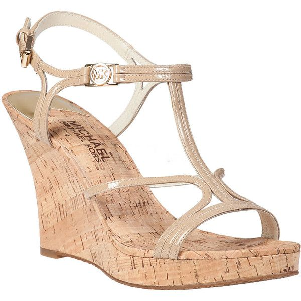 MICHAEL MICHAEL KORS Cicely Wedge Sandal Nude Patent found on Polyvore