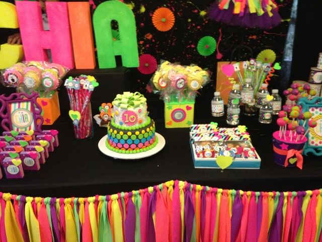 Cool Neon girl birthday party!  See more party ideas at CatchMyParty.com!