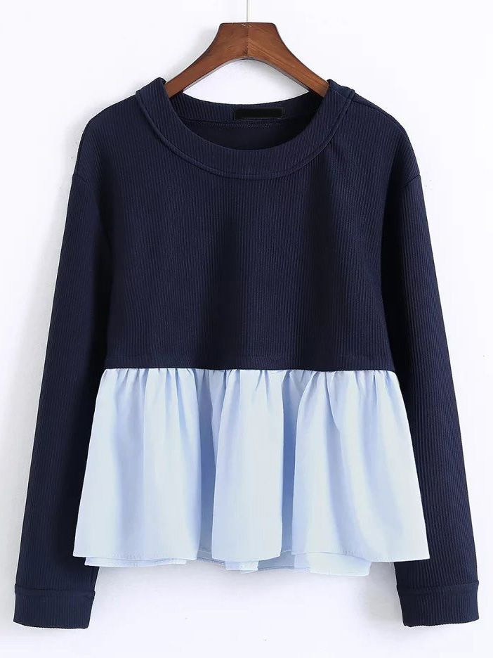 Buy Navy Contrast Ruffle Hem Blouse from abaday.com, FREE shipping Worldwide - Fashion Clothing, Latest Street Fashion At Abaday.com