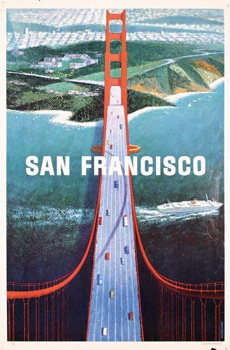 Koslow, Howard 1924 - San Francisco Offset 1964 307: Old San Francisco Travel Poster Bridge 1960s : Lot 307